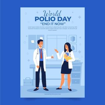 Modelo de folheto vertical desenhado à mão para o mundo plano da pólio