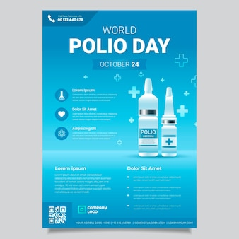 Modelo de folheto vertical do dia mundial da pólio com gradiente