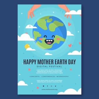 Modelo de folheto vertical para celebração do dia da mãe terra