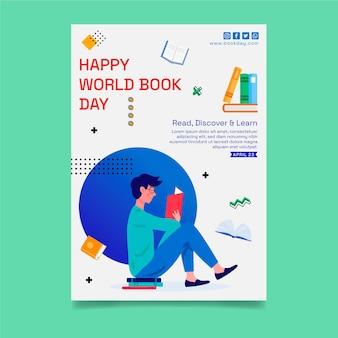 Modelo de folheto vertical para celebração do dia mundial do livro