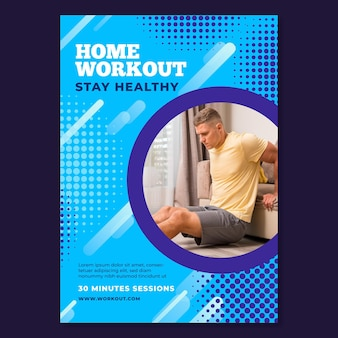 Modelo de folheto vertical para esporte em casa com atleta do sexo masculino