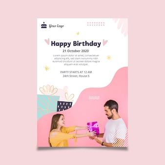 Modelo de folheto vertical para festa de aniversário