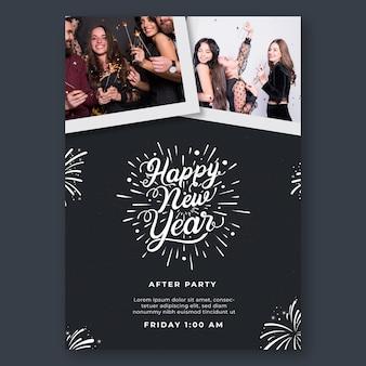 Modelo de folheto vertical para festa de ano novo
