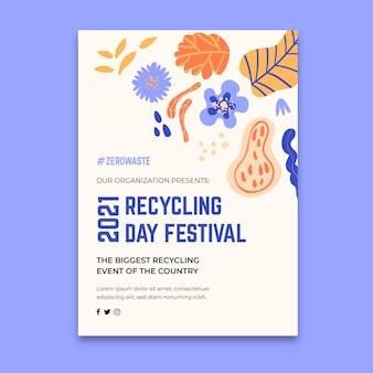 Modelo de folheto vertical para festival do dia de reciclagem