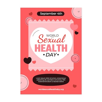 Modelo de folheto vertical para o dia mundial da saúde sexual