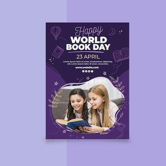 Modelo de folheto vertical para o dia mundial do livro