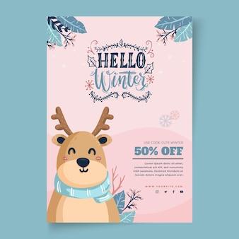 Modelo de folheto vertical para venda de inverno com renas Vetor Premium