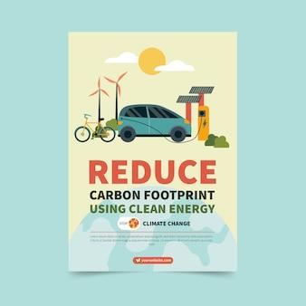 Modelo de folheto vertical plano de mudança climática desenhado à mão