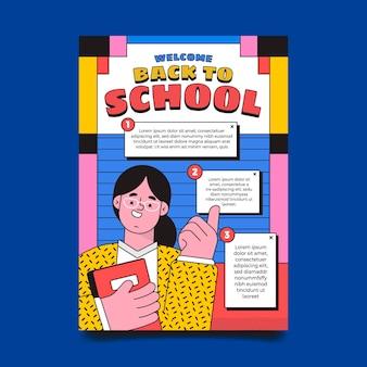 Modelo de folheto vertical plano de volta às aulas