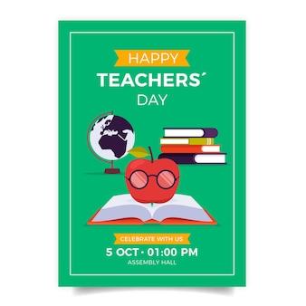 Modelo de folheto vertical plano para o dia dos professores