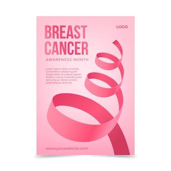 Modelo de folheto vertical realista para o mês de conscientização do câncer de mama