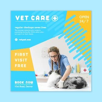 Modelo de folheto veterinário quadrado