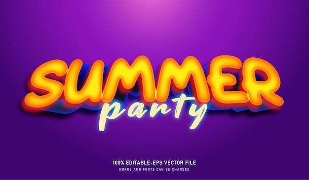 Modelo de fonte de efeito de texto para festa de verão
