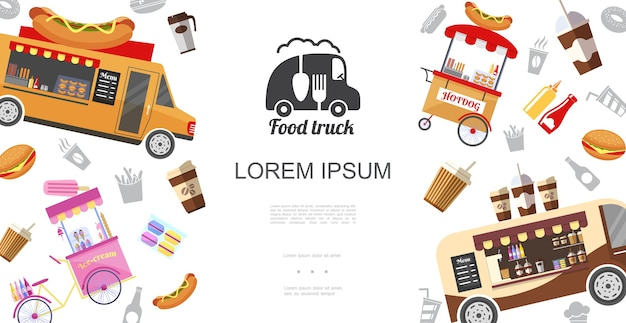 Modelo de food trucks de rua e carrinhos