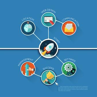 Modelo de forma de círculo de negócios infográfico