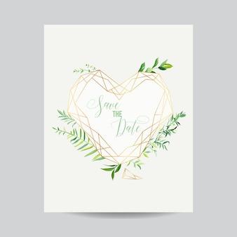 Modelo de formato de coração floral para convite de casamento