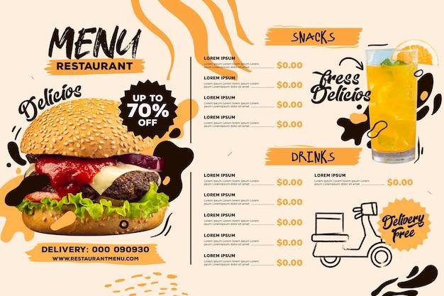 Modelo de formato horizontal de menu de restaurante digital com bebida e hambúrguer