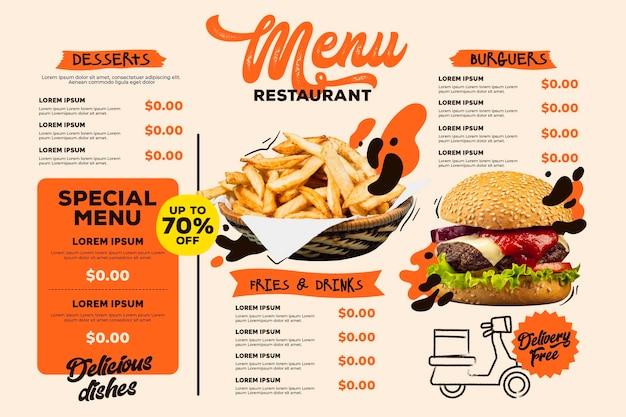 Modelo de formato horizontal de menu digital de restaurante com hambúrguer e batatas fritas