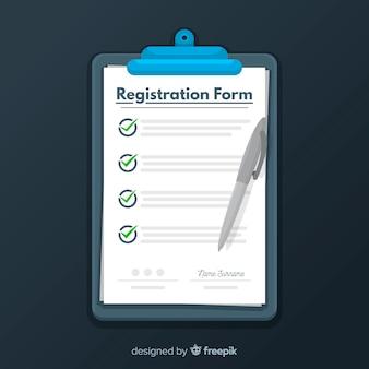 Modelo de formulário de inscrição com design plano