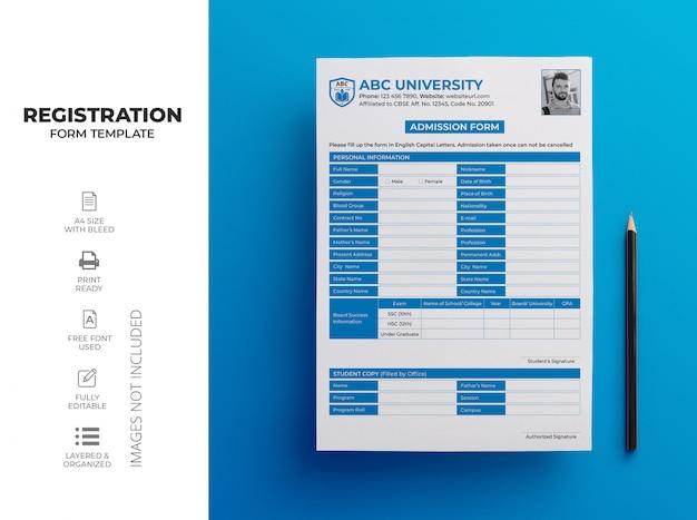 Modelo de formulário de inscrição