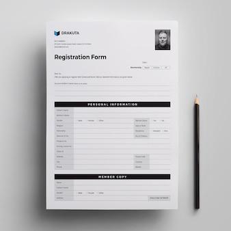 Modelo de formulário de registro