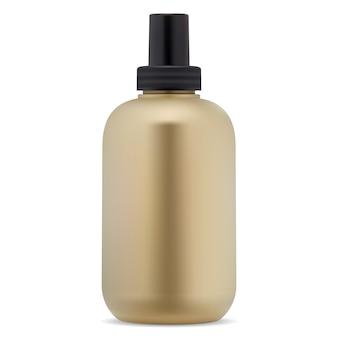 Modelo de frasco cosmético dourado para shampoo