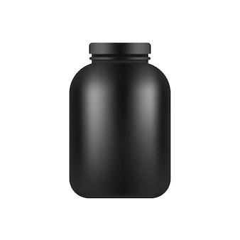Modelo de frasco plástico preto isolado no branco