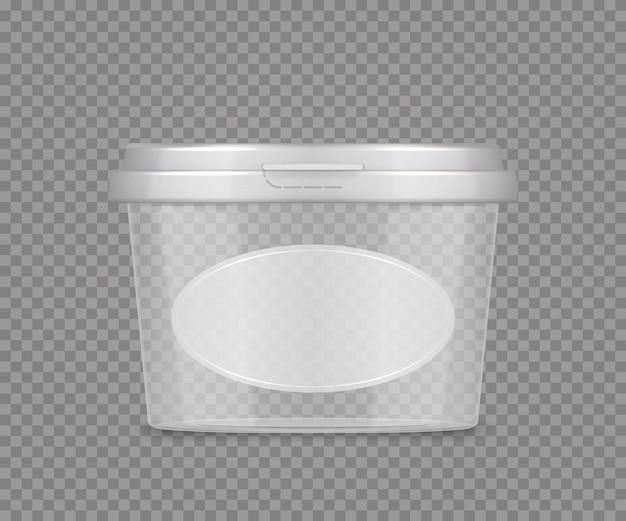 Modelo de frasco transparente vazio com etiqueta