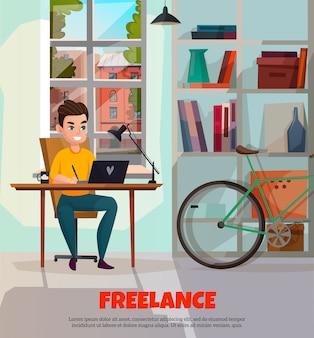 Modelo de freelancer durante o trabalho
