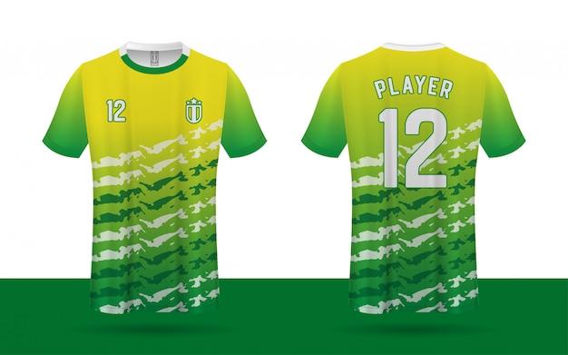 Modelo de frente e verso de camisa de futebol Vetor Premium