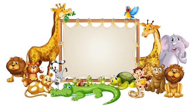 Modelo de fronteira com animais fofos