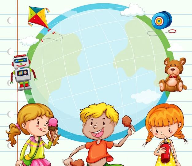 Modelo de fronteira com crianças comendo e bebendo