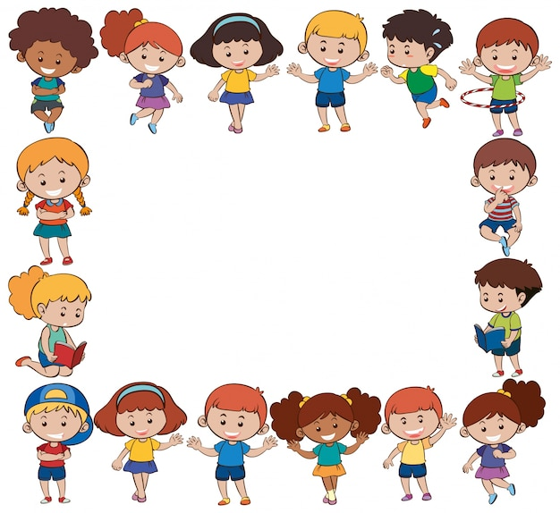 Modelo de fronteira com filhos felizes