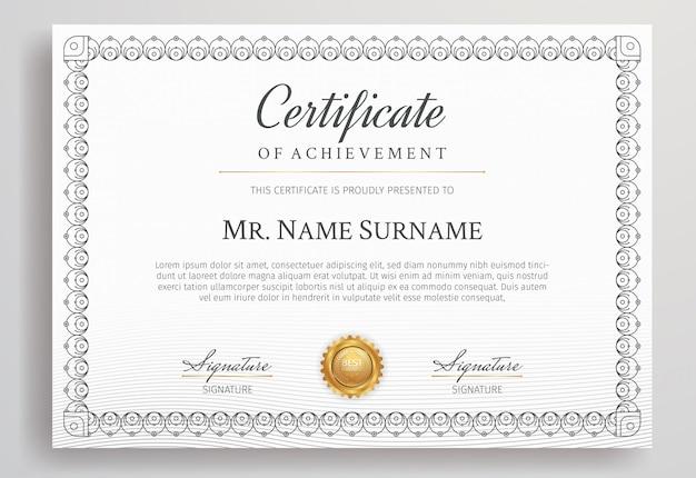 Modelo de fronteira de certificado diploma com distintivo de ouro de luxo