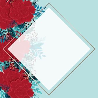 Modelo de fronteira de flor vermelha e fundo floral de hortelã