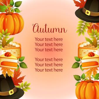 Modelo de fronteira vertical jardim chapéu de outono