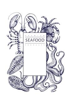 Modelo de frutos do mar. mão-extraídas ilustração de frutos do mar. bandeira de comida de estilo gravado. fundo retrô de animais marinhos
