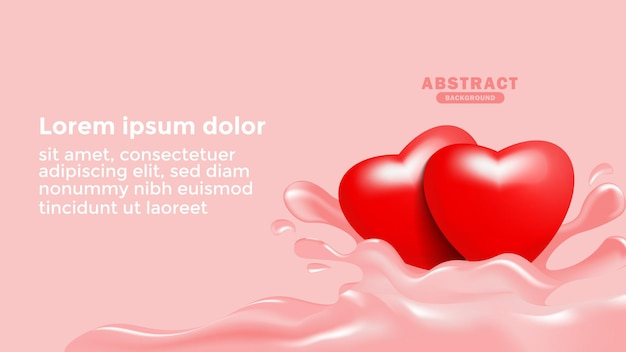 Modelo de fundo abstrato com ilustração de coração de amor realista 3d red love heart background