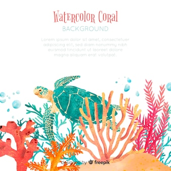Modelo de fundo coral aquarela