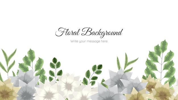 Modelo de fundo de flor desabrochando com design de elementos florais fofos