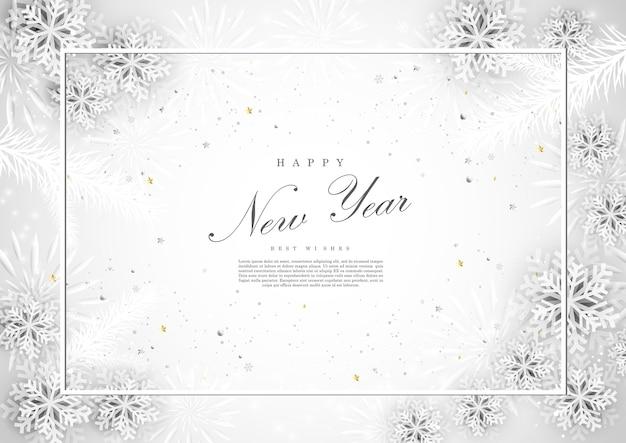 Modelo de fundo de neve branca de feliz ano novo