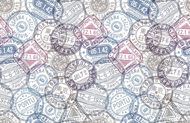 Modelo de fundo de vetor de padrão sem emenda de selos postais