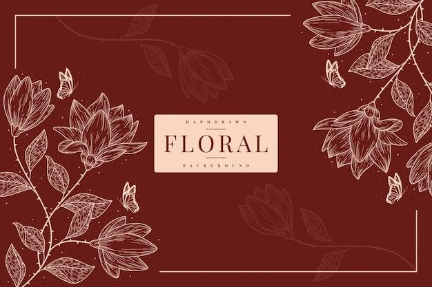 Modelo de fundo floral vintage handdrawn