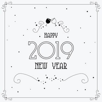Modelo de fundo múltiplo feliz feliz ano novo 2019 em cinza