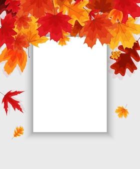 Modelo de fundo natural de outono com folhas caindo. eps10