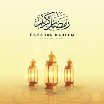Modelo de fundo quadrado ramadan kareem decorado com lanterna árabe realista