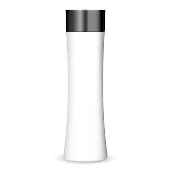 Modelo de garrafa de cosméticos na moda na cor branca com tampa preta.