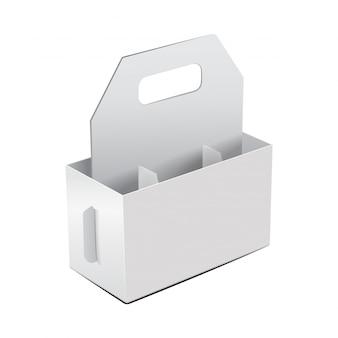 Modelo de garrafa de videira pacote dobrável em branco.