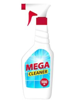 Modelo de garrafa limpa de telha para anúncios ou revista fundo. ilustração realista