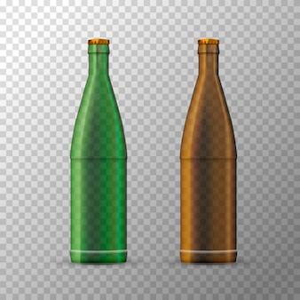 Modelo de garrafas de cerveja marrom e verde